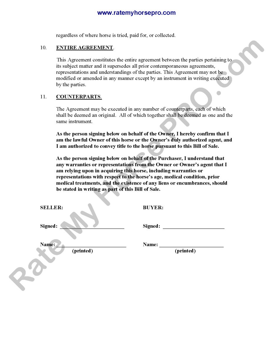 Horse Consignment Sales Contract Agreement Free