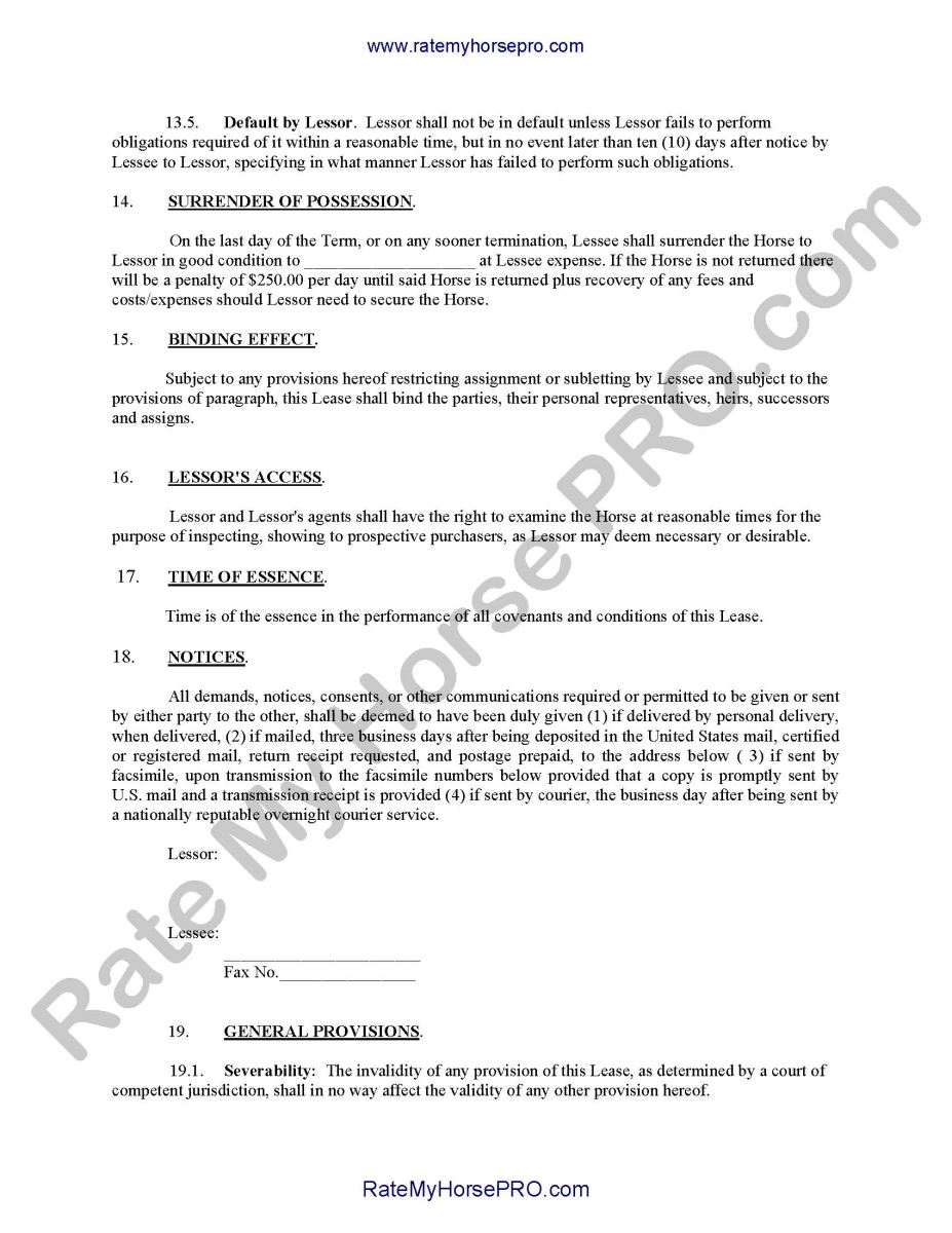 Horse Leases What You Need to Know – Sample Horse Lease Agreement Template