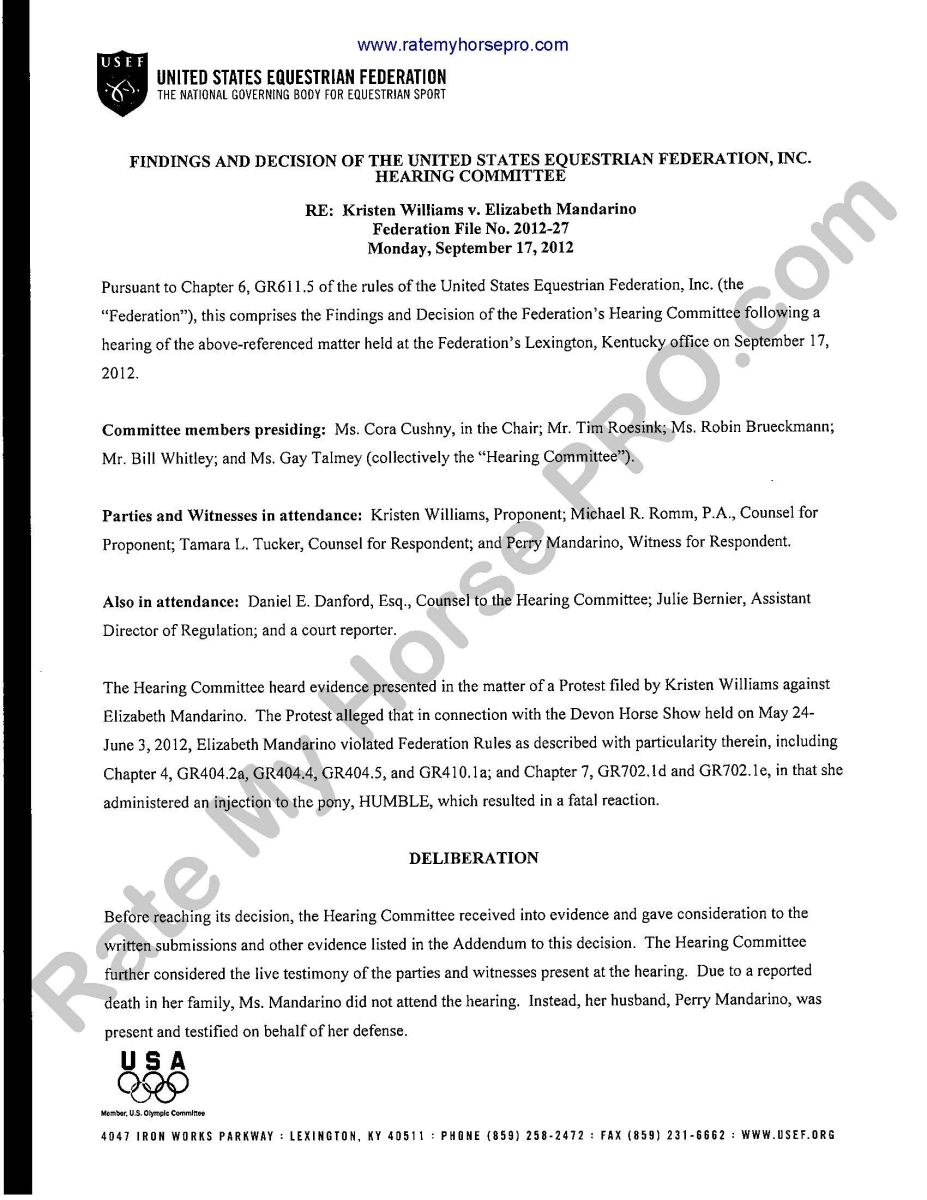 """Despite repeated requests, Elizabeth Mandarino would not turn over any portion of the necropsy report to Williams - and only shared """"portions of the toxicology report"""", according to the panel's report. The latter is inconsistent with a statement Tucker put out on November 6, stating, """"…the Hearing Panel was also provided with the full toxicology reports…"""""""