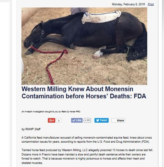 Western Milling Knew About Monensin Contamination Before Horses Died: FDA