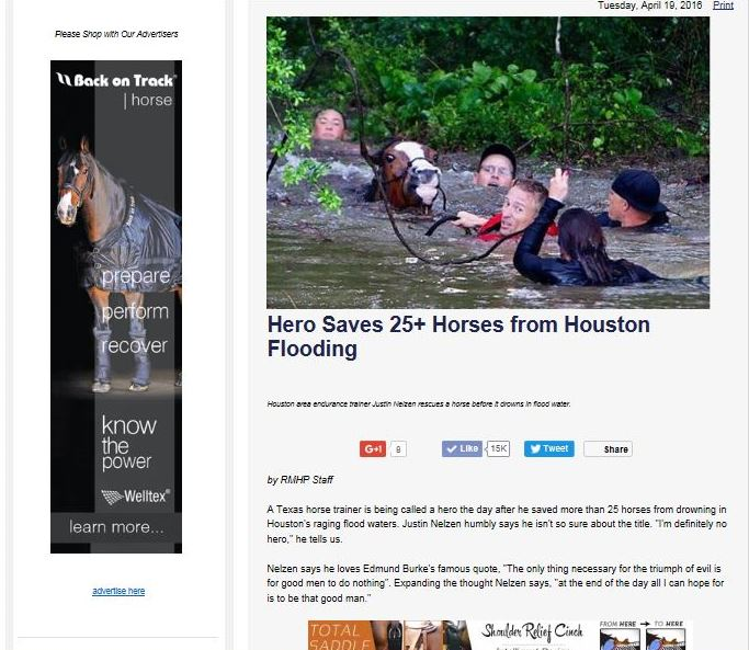 Horse Hero Saves Horses from Texas Flood April 2016