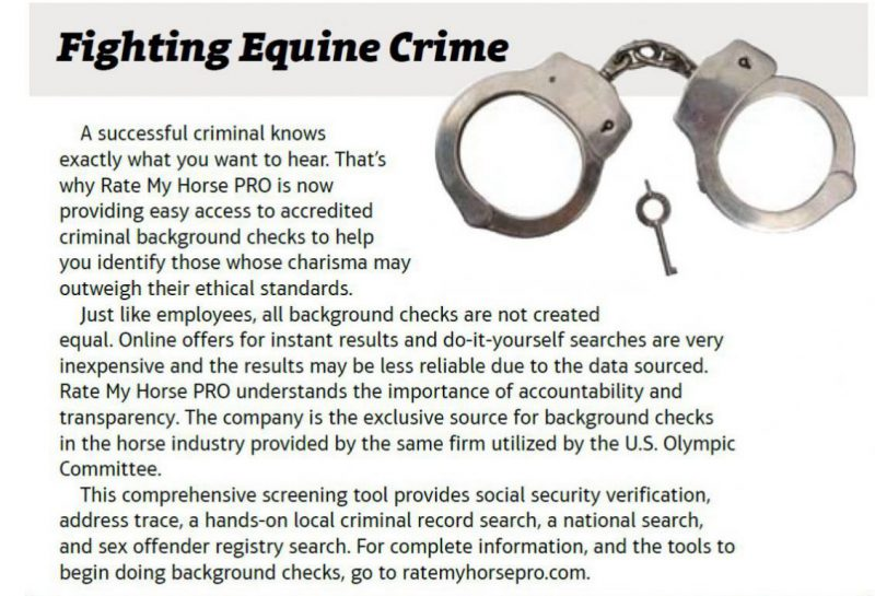 equine industry background checks online