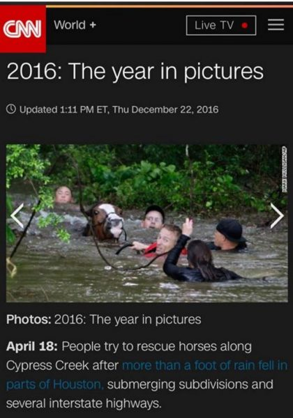 CNN Screenshot: Justin Nelzen saves a drowning horse during historic 2016 Texas flood