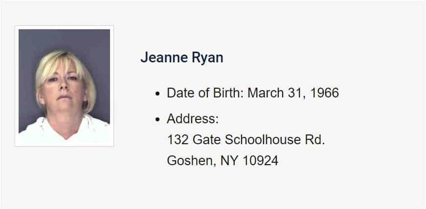 Jeanne Ryan animal abuser orange county NY