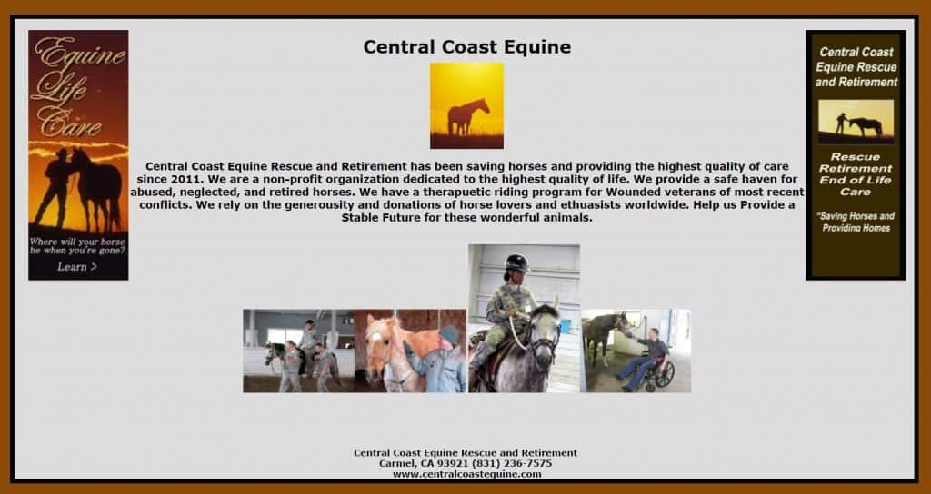 Central Coast Equine Rescue and Retirement website screenshot. According to the Attorney General, the charity never actually rescued a single horse.