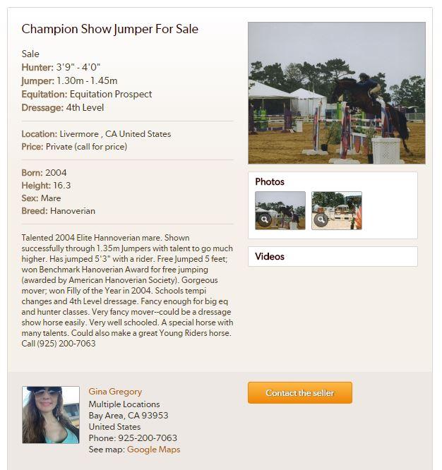 Gina Gregory equestrian Fresno horse rescue fraud and California attorney